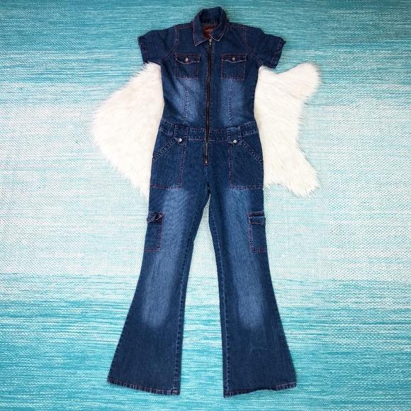 e4ccf85eee2a Vintage Denim Jumpsuit Zip Front Catsuit. M 5b9b9a3445c8b336593ad8e1